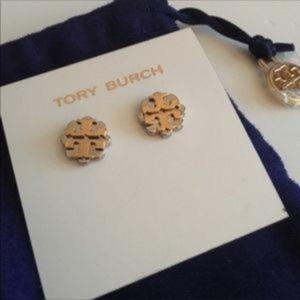NWT! Tory Burch Logo Flower Two-Tone Stud Earrings